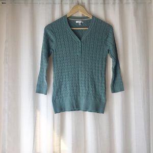 V-Neck Teal Knit Sweater
